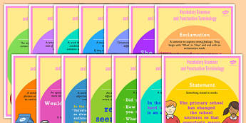 Year 2 Vocabulary Grammar and Punctuation Terminology Display Posters - y2, year 2, ks1, key stage 1, key stage one, vocabulary, terms, english, literacy, words, spag, visual aid, adjective, question, statement, verb, adverb, apostrophe, comma, excla
