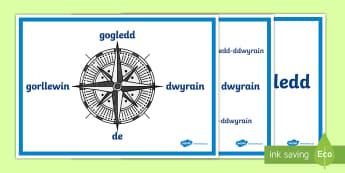 Posteri Pwyntiau'r Cwmpawd  - cwmpawd, gogledd, dwyrain, de, gorllewin, pwyntiau cwmpawd, daearyddiaeth, cyfeiriannu,Welsh