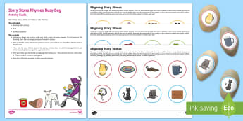 Story Stones Rhyming Busy Bag Resource Pack for Parents - Phase 1, Aspect 4, Rhythm, Rhyme, letters and sounds, phonics, rhymes, story stones
