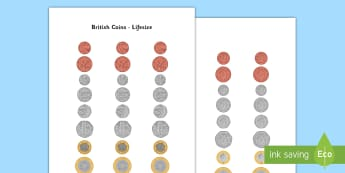 British (UK) Lifesize Coins - Money, coins, currency, pound,