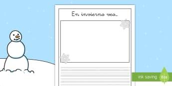 Pautas: En invierno veo... - pautas, escritura, escribir, invierno, estaciones, textos, producción de textos, escribe, invernal,