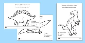 Kolorowanka z liczbami Dinozaury po polsku - cyfry, przedszkole