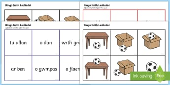 Bingo Iaith Leoliadol Bingo - bingo cymraeg, lleoli, lleoliadol, geiriau, arddodiaid , arddodiad, iaith leoliadol,Welsh