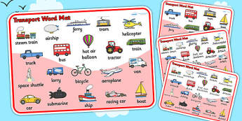 Transport Word Mat - Transport words, word mat, Foundation stage, , car, van, lorry, bike, motorbike, plane, aeroplane, tractor, truck, bus
