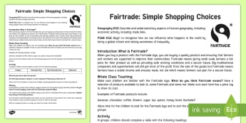 KS2 World Fair Trade Day Simple Shopping Choice Activity - UK World Fairtrade Day, Describe and understand key aspects of human geography, including: economic