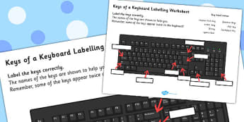 Keys Of A Keyboard Labelling Worksheet - keyboard, worksheet