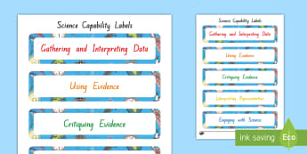 Science Capabilities Labels - New Zealand Science Capabilities, science, capabilities, primary school, observations, evidence, mak