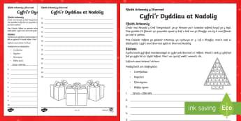 Cyfri'r Dyddiau at Nadolig Taflen Weithgaredd - Christmas Wales - Welsh Medium, pos nadolig, mathemateg nadolig, gweithgaredd nadolig, cyfri'r dydd