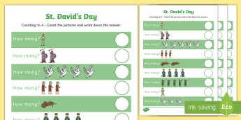 St David's Day Numeracy Differentiated Activity Sheets - Welsh - Dewi Sant, St David\'s Day, Numeracy, Welsh Culture, Curriculum Cymreig, St David, Wales, Receptio - Dewi Sant, St David\'s Day, Numeracy, Welsh Culture, Curriculum Cymreig, St David, W