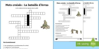 Mots croisés : La bataille d'Arras - Histoire, history, Arras, bataille, battle, Cycle 3, Première Guerre Mondiale, First World War, Fra