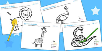 Safari Themed Colour by Number - colouring, counting aid, colours