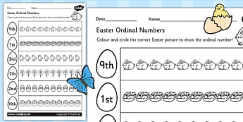 Easter Themed Ordinal Numbers Worksheet - easter, numbers, RE