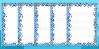 Sea Themed Page Borders - sea, themed, page borders, borders