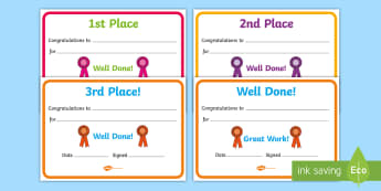 Sports Day Award Certificates - Reward, sports day, award, certificate, medal, rewards, school reward, medal, good running, good try, sports