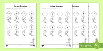Frühling Zahlen-Drachen Arbeitsblatt -  Frühling, Jahreszeiten, Mathematik, Addieren, Zahlen, Drachen, Kindergarten und Vorschule, spring,