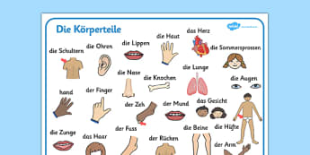 Die Körperteile Word Mat German - german, my body, word mat, word, mat, bodies