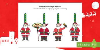 Santa Writing Finger Spacers - Christmas, Nativity, Jesus, xmas, Xmas, Father Christmas, Santa, St Nic, Saint Nicholas, traditions,
