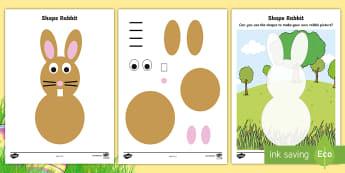 Rabbit 2D Shape Activity Sheets - 2D shapes, shape, bunny, easter, lent