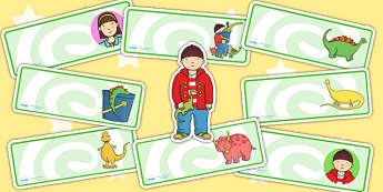 Editable Drawer Peg Name Labels to Support Teaching on Harry and the Bucketful of Dinosaurs