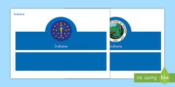 Indiana Headband Activity - United States History, State history, Indiana, State Symbols, Flag, Seal, State Tree, State Flower,
