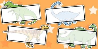 Editable Self Registration Labels (Dinosaur) - Self registration, register, dinosaur, editable, labels, registration, child name label, printable labels, topic, history, t-rex, stegosaurus, raptor, iguanodon, tyrannasaurus rex