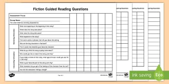 Fiction Guided Reading Questions Checklist - Comprehension, reading, questions, retrieving, interpreting, connection, English, language, literacy