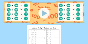 Adding Two-Digit Numbers up to 100 Teaching Pack - New Zealand, maths, addition, adding, Years 1-3, place value, numbers to 100, 2 digit numbers, addin