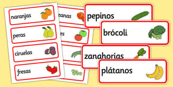 Spanish Fruit Vocabulary Cards - literacy, visual, aids, fruits