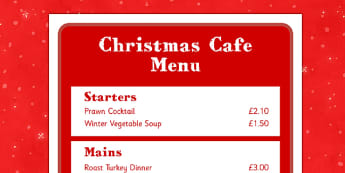 Christmas Cafe Role Play Menu - christmas caf