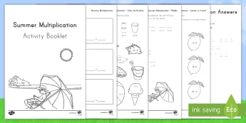 Summer Multiplication Activity Booklet - summer, summer season, first day of summer, summertime, multiplication summer multiplication, multip