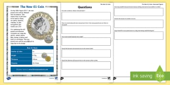 LKS2 The New £1 Coin Maths Activity Sheets - maths, KS2, LKS2, the new pound coin, the new £1, dimensions, measurements, multiplication, 12 time