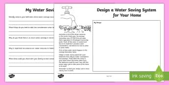 Water Saving System Design Activity - Australia YR 3 and 4 Design Technology, design technology, design, planning, water consumption, wate