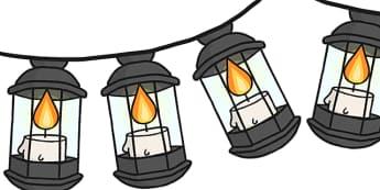 Lamp Display Bunting - lamp bunting, lantern bunting, hanging lamp bunting, florence nightingale, florence nightingale bunting, lady of the lamp bunting