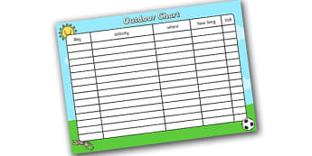 Outdoor Play Chart - play chart, outdoor play, outdoor chart, outdoor activity chart, outdoor planning chart, outdoor play display chart, outdoor timetable