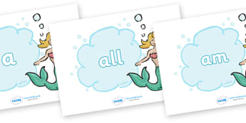 Foundation Stage 2 Keywords on Mermaids - FS2, CLL, keywords, Communication language and literacy,  Display, Key words, high frequency words, foundation stage literacy, DfES Letters and Sounds, Letters and Sounds, spelling