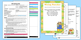Mixing Pancakes Rhyme EYFS Adult Input Plan and Resource Pack to Support Teaching on Mr Wolf's Pancakes - EYFS, Early Years planning, adult led, CL, Communication and Language, Pancake Day, Shrove Tuesday, Mr Wolf's Pancakes, Jan Fearnley