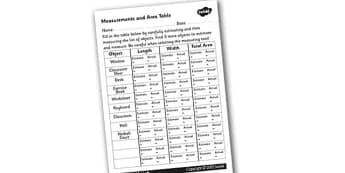 Measurements and Area Table Activity Sheet - measurements, areas, measurements and areas, working out areas, how to calculate the area of a shape, shape areas