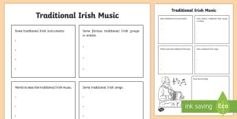 Traditional Irish Music Snapshot Activity Sheet - ROI - St. Patrick's Day Resources, music, traditional Irish music, trad msuic, snapshot, informatio