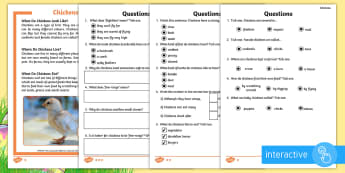 KS1 Chickens Differentiated Comprehension Go Respond  Activity Sheets - Children's Books, story, book, Easter, save, saving, Easter Bunny, bunny, bunnies, stories, chick,