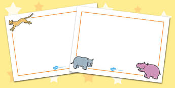 Africa Page Borders (Landscape) - page border, border, frame, writing frame, africa, countries, african animals, africa writing frames, writing template, writing aid, writing, A4 page, page edge, writing activities, lined page, lined pages