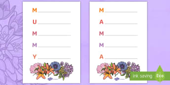 Mother's Day Acrostic Poem Template English/Italian - Mother's Day Acrostic Poem Sheets (Flowers) - acrostic poems, acrostic poem, mothers day acrostic p