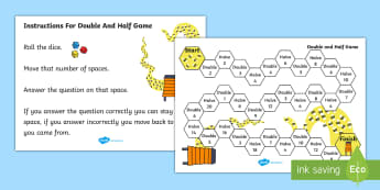 Doubling and Halving Board Game - double, half, numeracy, game, Double, half, multiply, divide, turn taking, bee, numbers to 20