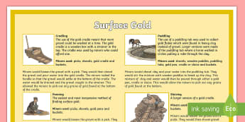 Surface Gold Poster - colony, gold rush, Australia, sluicing, non-fiction, fact file, mining, convicts