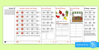 Year 2 Maths Number Bonds and Money Homework Go Respond Activity Sheet - year 2, maths, homework, calculation, number bonds, money, worksheet, gorespond, interactive