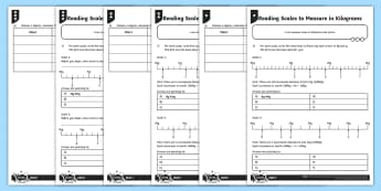 Reading Scales to Measure in Kilograms Differentiated Activity Sheets - measurement, reading scales, scales, mass, kilograms, intervals