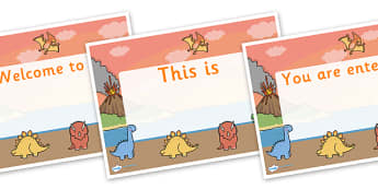Dinosaur Themed Editable Class Welcome Signs - dinosaurs, dinosaur themed welcome signs, dinosaur welcome signs, dinosaur classroom signs, welcome sign
