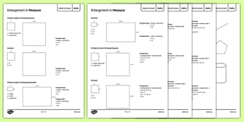 Maths Need To Knows Enlargements in Measure - maths, KS 3, measure, transformation, enlargement, scale factor, area, volume, shape, geometry