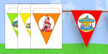 Summer Fair Themed Bunting - summer, fair, summer fayre, fayre, summer fair, summer fete, fete, bunting, display