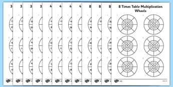 3, 4 and 8 Times Table Multiplication Wheels Activity Sheet Pack - times table, multiplication wheel, multiply, activity sheet, worksheet, 3, 4, 8