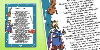 Old King Cole Nursery Rhyme Poster - old king cole, nursery, rhyme, poster, display
